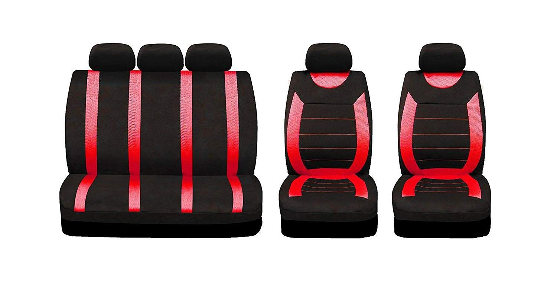 UKB4C Red /& Black Steering Wheel /& Seat Cover set for Mazda 3 Hatchback 04-On