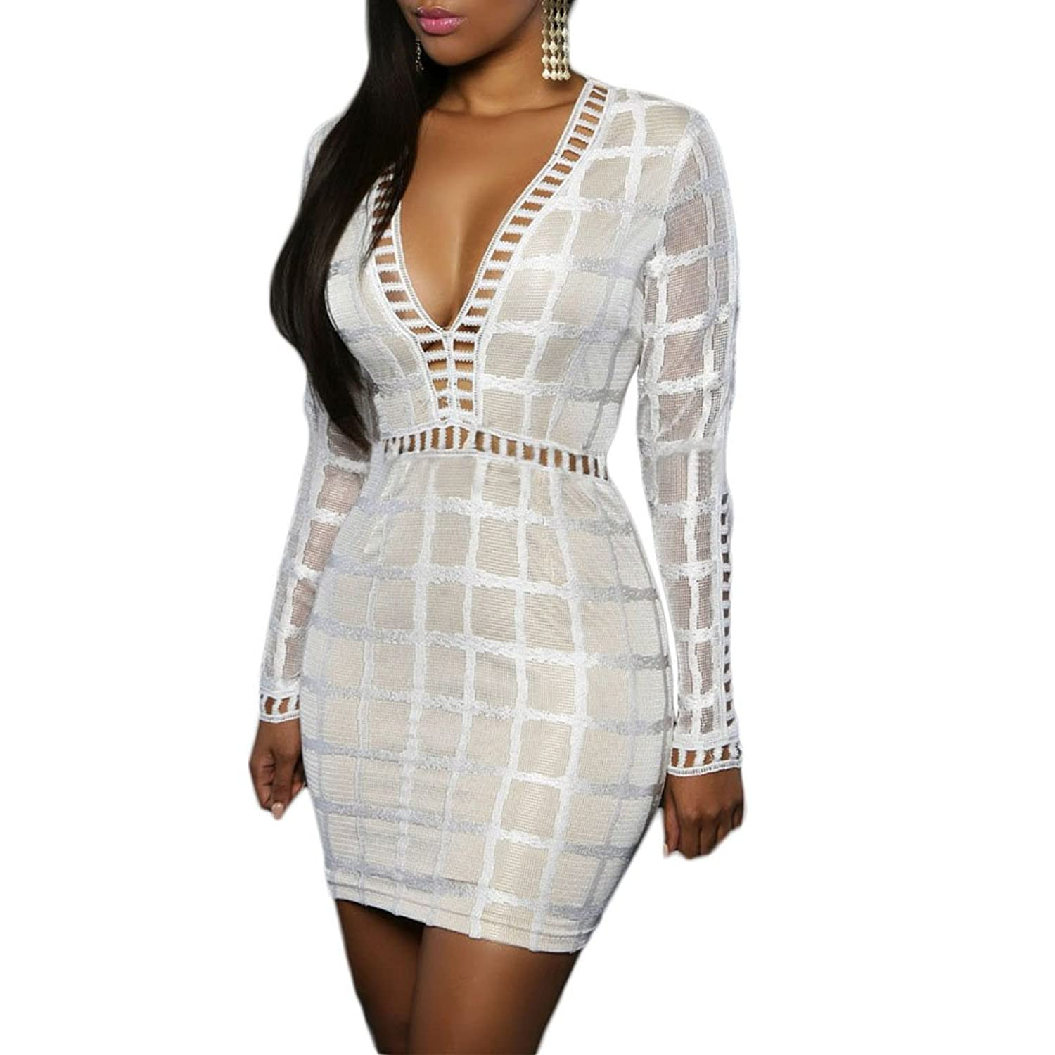Women Sexy Lace Nude Illusion Long Sleeves V Neck Bodycon Club Dress