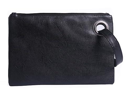 ae59dd0772c Hycurey Oversized Clutch Bag Purse and Handbag Womens Large PU Leather  Evening Wristlet Handbags Black