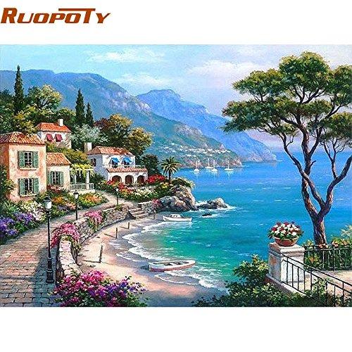 Vuage(TM) リビングルーム40X50の数値海景手描きの油絵の家の壁のアートワーク地中海DIY絵画