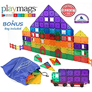 Award Winning Playmags Clear Colors Magnetic Tiles Deluxe Building Set 100 Piece Set with Car + Includes Free Bonus Bag - Great Gift for Kids (B00D30ENY8) | Amazon price tracker / tracking, Amazon price history charts, Amazon price watches, Amazon price drop alerts