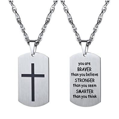 Amazon cross necklaceyou are braver than you believemilitary cross necklaceyou are braver than you believemilitary dog tagnecklaces pendants aloadofball Image collections