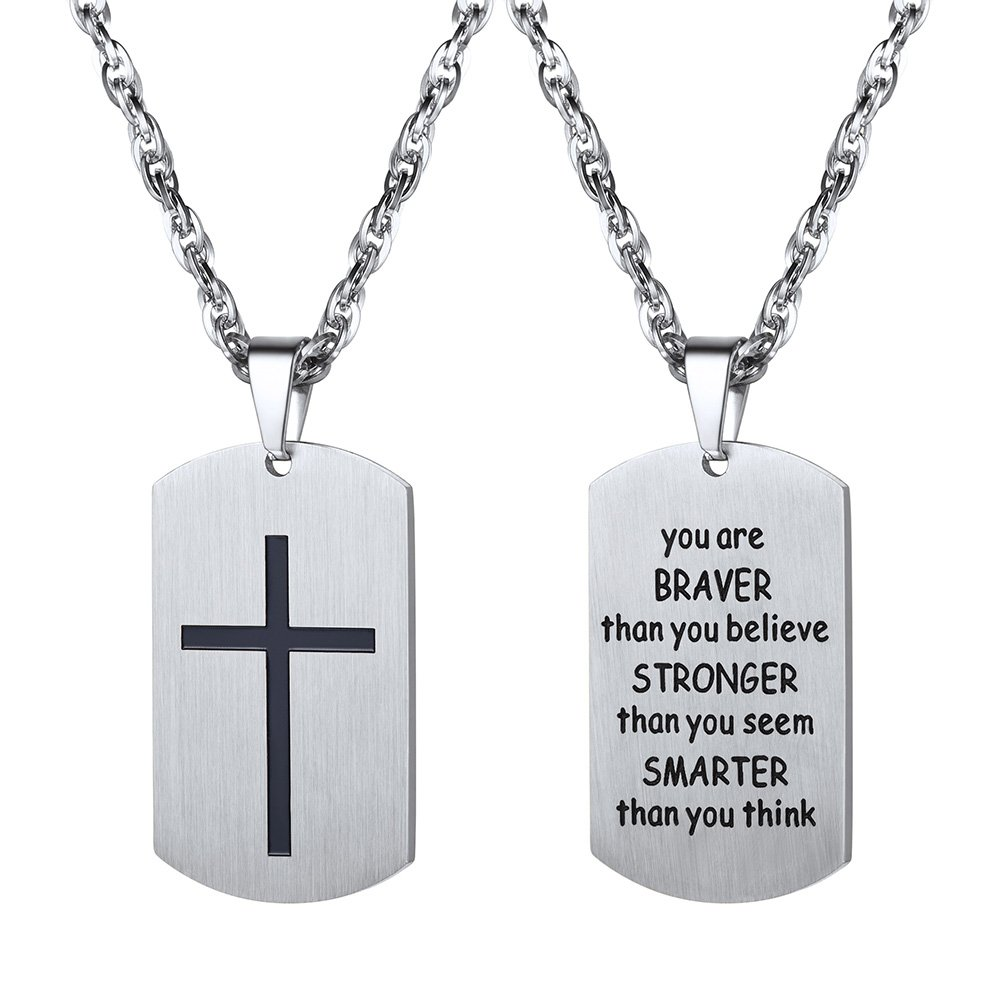Cross Necklace,You Are Braver Than You Believe,Military Dog Tag,Necklaces Pendants,Men,Women,Christian Jewelry,Christmas Gift,Stainless Steel,Inspirational Jewelry