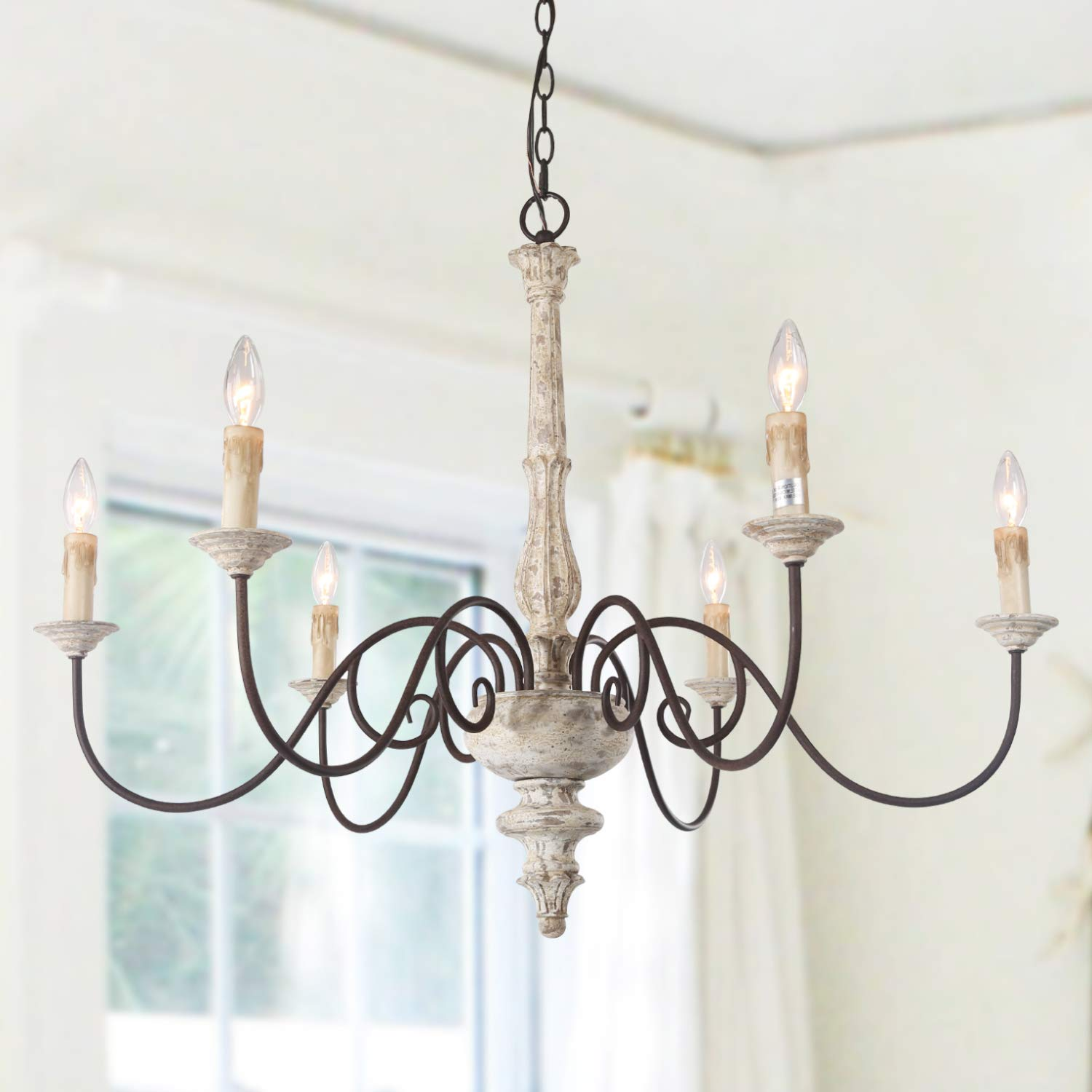 Laluz 6 light french country chandelier distressed lighting for dining rooms 28h x 37l amazon com