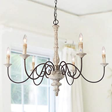 LALUZ 6-Light French Country Chandelier Distressed Lighting for Dining Rooms, 28 H x 37 L
