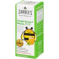 Zarbee's Naturals Children's Cough Syrup* + Mucus with Dark Honey & Ivy Leaf, Cherry Flavor, 4 Ounce Bottle