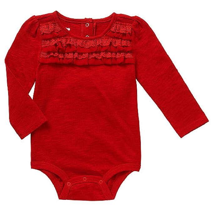 Amazon.com: Baby Girls Dark Red Burgundy Long Sleeve Ruffle Accent ...