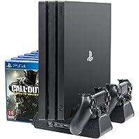 PlayStation Support Vertical Stand - ElecGear Ventilateur de Refroidissement, Dual chargeur station de charge Contrôleur charger, Stockage de 12 Jeux pour manette DualShock, PS4, PS4 Pro, PS4 Slim