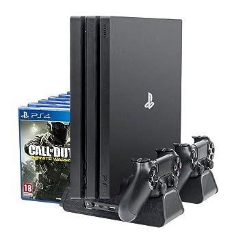 PlayStation Soporte Vertical con Ventiladores de Refrigeración, Estación de Carga de Mandos Cargador y USB