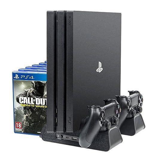 PlayStation Soporte Vertical con Ventiladores de Refrigeración, Estación de Carga de Mandos Cargador y USB Hub, 12 juegos Stand, DualShock Controller ...