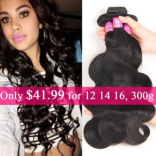 VRBest Hair Unprocessed Brazilian Virgin Hair Body Wave 3 Bundles Virgin Human Hair Extensions Natural Color (100+/-5g)/pc (12 14 16) (Brazilian Bundle)