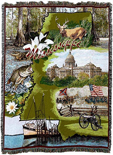 Pure Country Weavers - Mississippi 2 Woven Tapestry Throw Blanket Cotton 72x54 Cotton USA