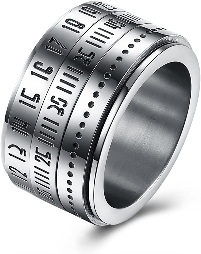BEMI Elegant Rotatable Engraved Roman Numerals Band Ring Personality Cool Style Statement Rings for Mens