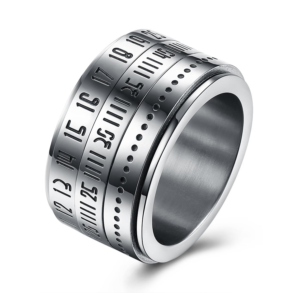 BEMI Elegant Rotatable Engraved Roman Numerals Band Ring Personality Cool Style Statement Rings for Mens 10