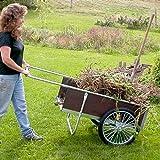 Garden Cart with Pneumatic Wheels - Medium Size (Wood/Steel) (20 1/4''H x 21 1/2''W x 52 1/2''D)