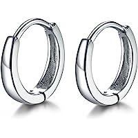 MASOP Unisex Huggie Hoops Earrings 925 Sterling Silver Round Studs Sleeper Earrings Diameter 13mm(2 Style for Choice)