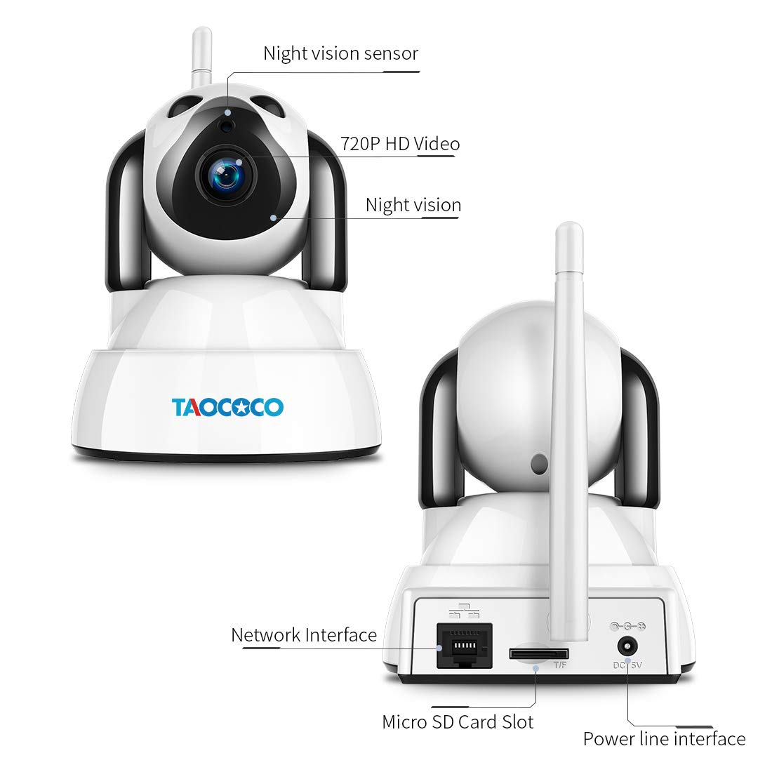 TAOCOCO Wireless Security Camera, 720P HD WiFi IP Camera, Pet Baby Monitor, Home Dog Camera Nanny Cam with Pan/Tilt/Zoom, Motion Detection, Two Way Talking, Infrared Night Vision