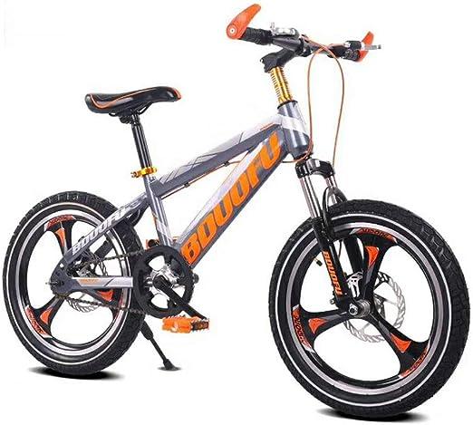 SJSF Y Bicicleta Montaña Niños Freno De Disco Bicicleta 16 \ 18 \ 20 Freno De Disco Raytheon Bicicleta para Niños con Freno De Disco Doble para Niño Y Niña (Gris Naranja),20inch: Amazon.es: Jardín