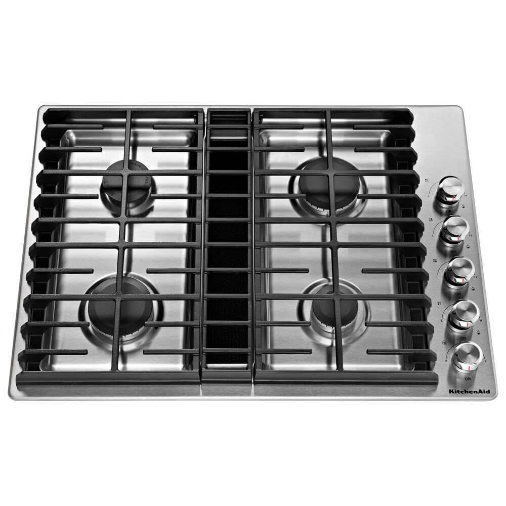 "KitchenAid KCGD500GSS 30"" 4 Burner Stainless Steel Gas Downdraft Cooktop"