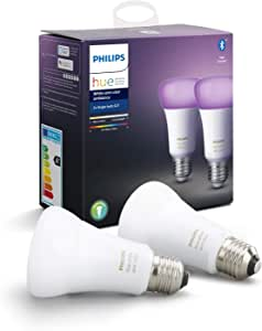 Philips Hue White & Colour Ambiance Smart Bulb Twin Pack LED [E27 Edison Screw] with Bluetooth Works with Alexa, Google Assistant & Apple HomeKit