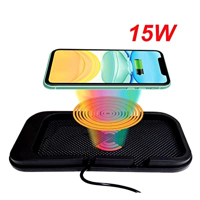 EDL-19 Car Wireless Charger, Flat Type Charging, Also can be Used as Phone Dock. with USB QC 3.0 Adapter, 15W/10W/7.5W/5W Fast Charging for Qi Enabled Phones. (Black): Home Audio & Theater