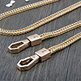 Length 47 Inch Width 7mm Jakotsu Shape Chain Tone Mini Purse/Shoulder/Cross Body Bag Replacement Metal Strap DIY (Golden)