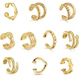 Sloong 10pcs Sparkling Ear Cuff Gold Dainty Helix Earrings Huggie Stud for women Earring Set   Clip On Cartilage