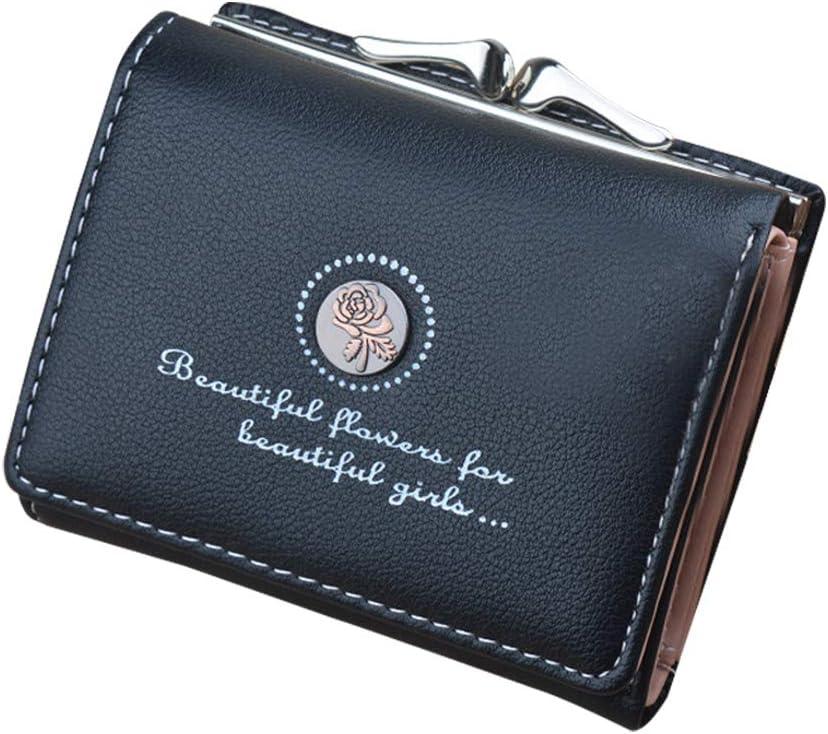 TREESTAR 2018 Nuevo Monedero pequeño para Damas Corto Mini Monedero Billetera de Cuero Simple PU Monedero Femenino (Black)