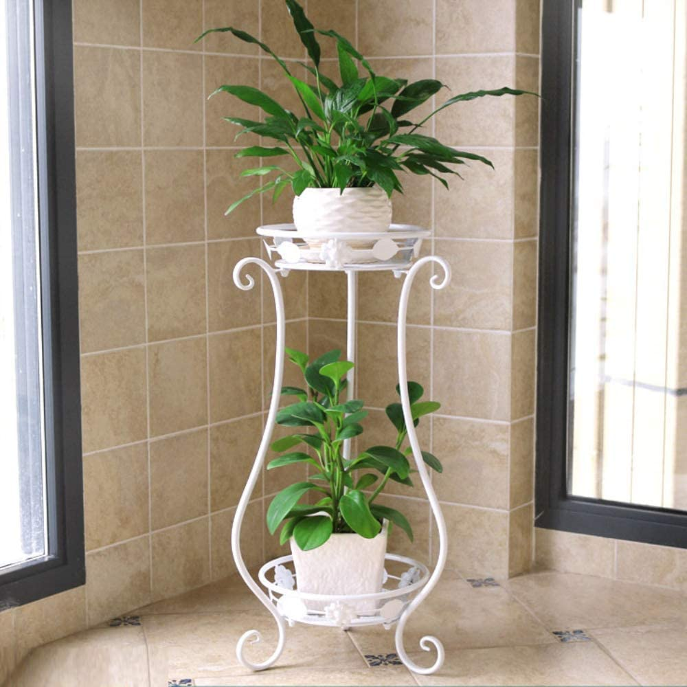 Metal Tall Plant Stand Indoor/Outdoor,Iron Flower Pot Holder Small Plant Holders,Flower Pot Stand Flower Pot Supporting,Potted Plant Stand Plant Rack Planter Stand,for Home,Garden,Patio(White,24.4in)