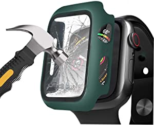 Henstar Compatible with Apple Watch Series 6/5/4/SE 40mm Hard Case,Ultra Thin HD Tempered Glass Screen Protector Full Coverage Protective Cover for iwatch (Midnight Green, Series 6/5/4/SE 40mm)