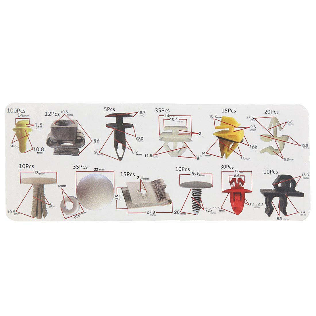 Amazon.com: eDealMax 297 piezas DE 12 Tipo de puerta de parachoques plástica de cargadores de sujetadores Remaches Set Para el coche automático: Automotive