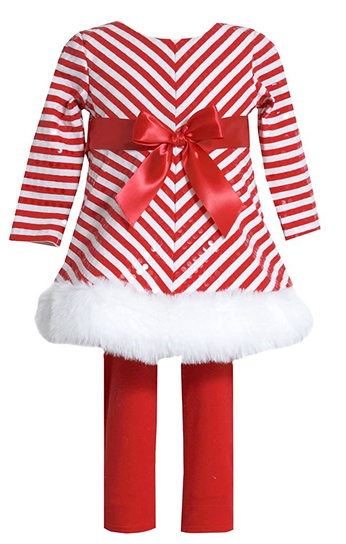 Bonnie Jean Girls Christmas Holiday Mitered Santa Dress and Legging Set