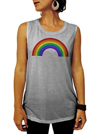 b1f9b0db Gay Pride Tank Top, Rainbow Women's Muscle Tee Shirt at Amazon Women's  Clothing store: