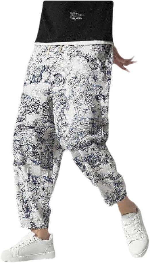 cheelot Men Linen Drawstring Plus Size Floral Print Harem Casual Fashion Pants
