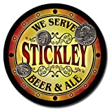 Stickley Family Name Beer and Ale Rubber Drink Coasters - Set of 4