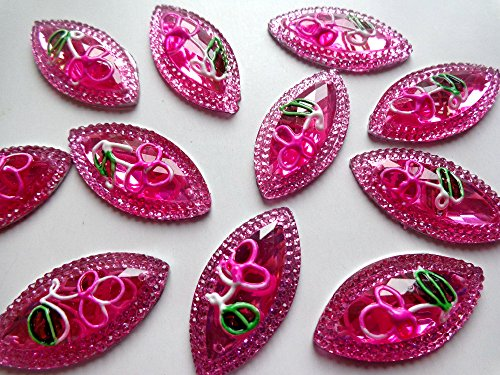 New Fashion Style Sew on Crystal Pink Rhinestones Flatback Horse Eye Navette Shape 2 Holes Rose Red Gem Stones 30pcs
