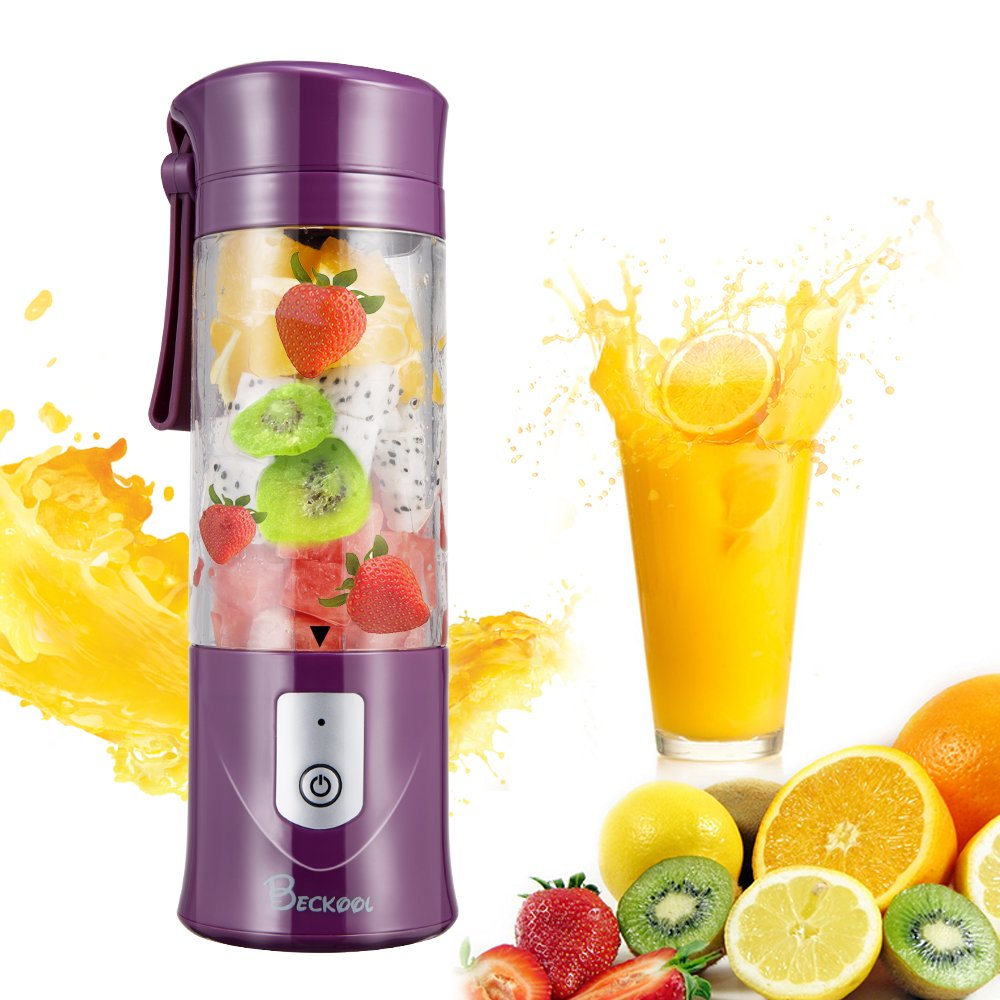 Portable Juicer Blender, Beckool Travel Personal USB Mixer Juice Cup with Updated 6 Blades and More Powerful Motor, 13Oz Water Bottle, 4000mAh Rechargeable Battery-Purple