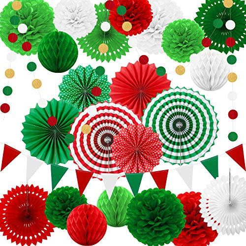 25 Pieces Party Decorations Paper Fans Pom Poms Flowers Garlands String Circle Dot Triangle Bunting Flags Honeycomb Ball Party Supplies for Christmas Birthday Wedding Baby Shower (Red White Green) (And White Green Theme Christmas)