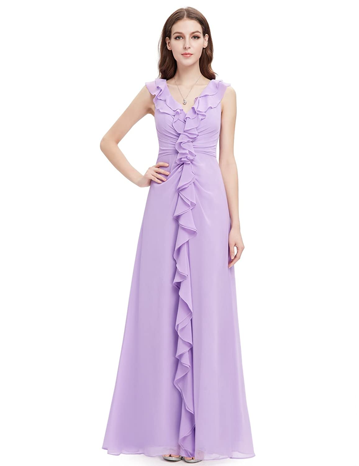 Ever Pretty V-Neck Ruffles Sleeveless Long Evening Dress 08219 at Amazon Womens Clothing store: