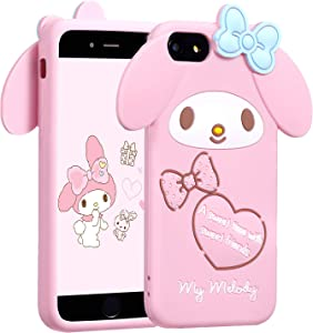 "Allsky Case for iPhone 8/7/6/6S 4.7"" Cartoon Soft Silicone Cute 3D Fun Cool Cover,Kawaii Unique Funny Kids Girls Teens Animal Character Rubber Skin Shell Shockproof Funny Pink Cases for iPhone6 Melody"