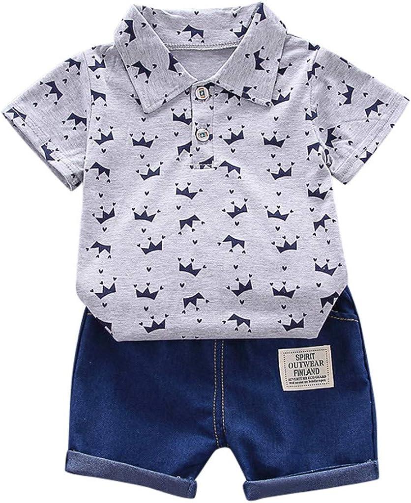 LEXUPE Kleinkind Kinder Baby Boy Kurzarm Crown Muster Shirt Tops Denim Hosen Set