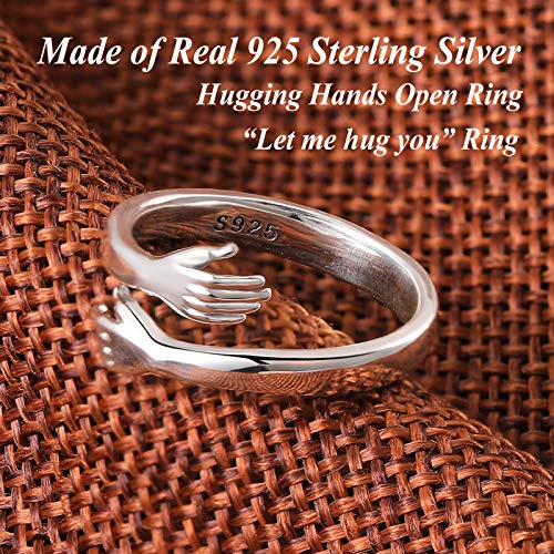 GAGAFEEL 925 Sterling Silver Hand Rings for Women Men, Hugging Hands Open Ring Wedding Bands Boy Girl Stacking Ring Xmas Birthday Party Valentines Jewelry Gift (US size 7-9--L)