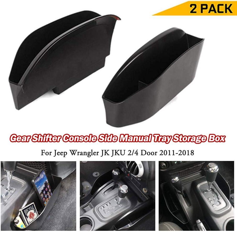 Ruien Gear Shifter Console Side Storage Box Phone Card Holder Manual Tray Black for Jeep Wrangler JK JKU 2//4 Door 2011-2018