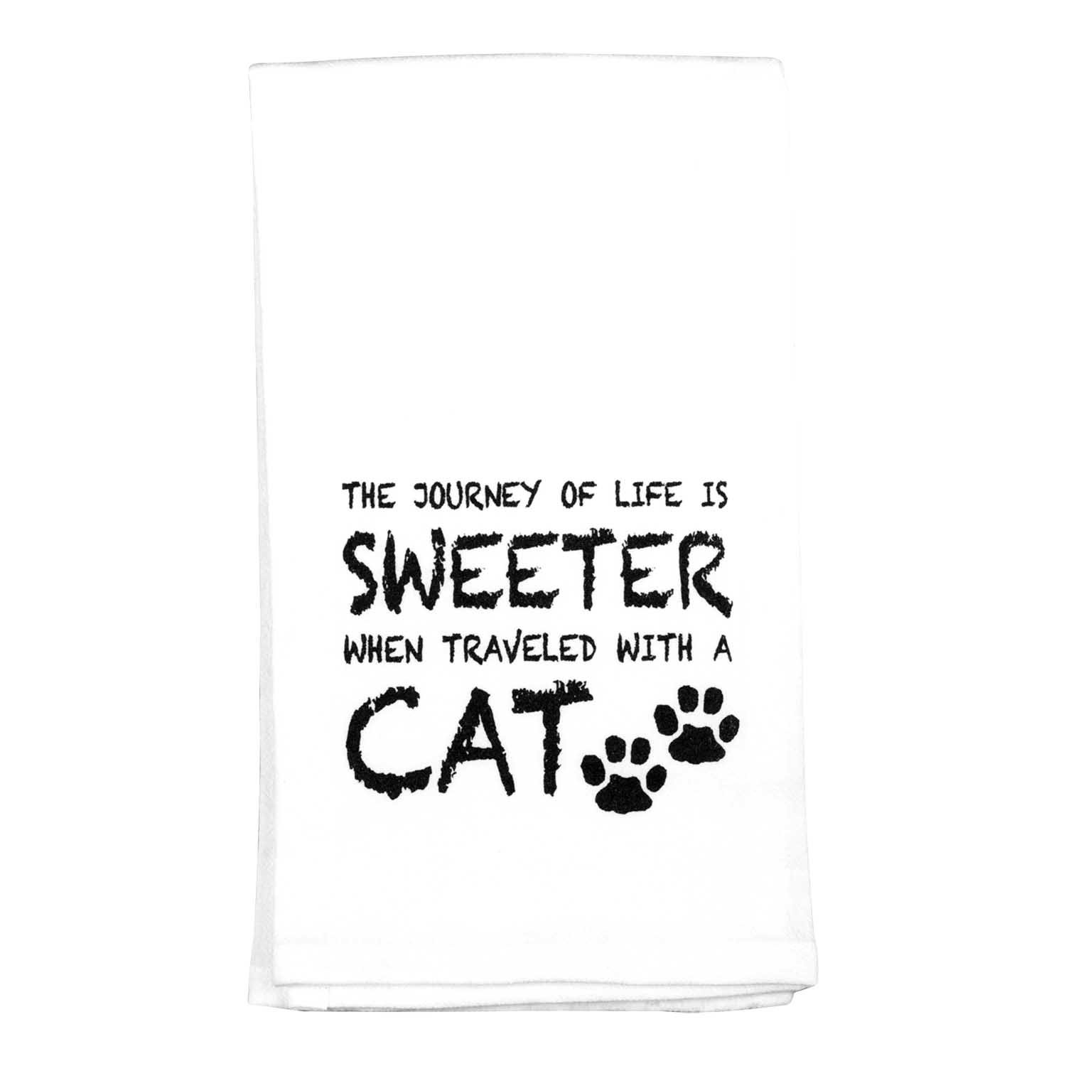 Journey of Life Sweeter with a Cat 18 x 22 All Cotton Flour Sack Hand Towel