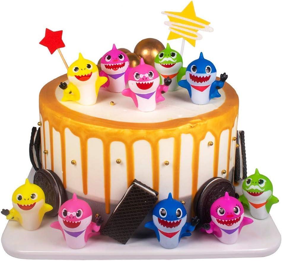 SAKOLLA 10 Pack Shark Birthday Cake Toppers - Shark Cupcake Toppers for Kids Shark Theme Birthday Party