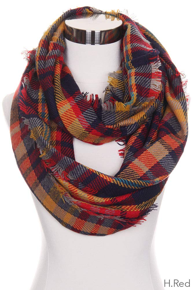 ScarvesMe CC Women's Check and Plaid Soft Infinity Loop Winter Fall Warm Scarf