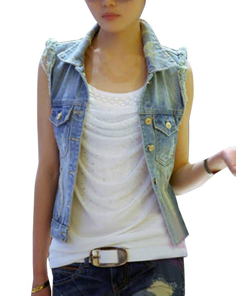 Donna Giacca Denim Corti Senza Maniche Gilet In Jeans Lavaggio Colore Chiaro Strappati Giubbotto In Jeans Slim Fit Guiran