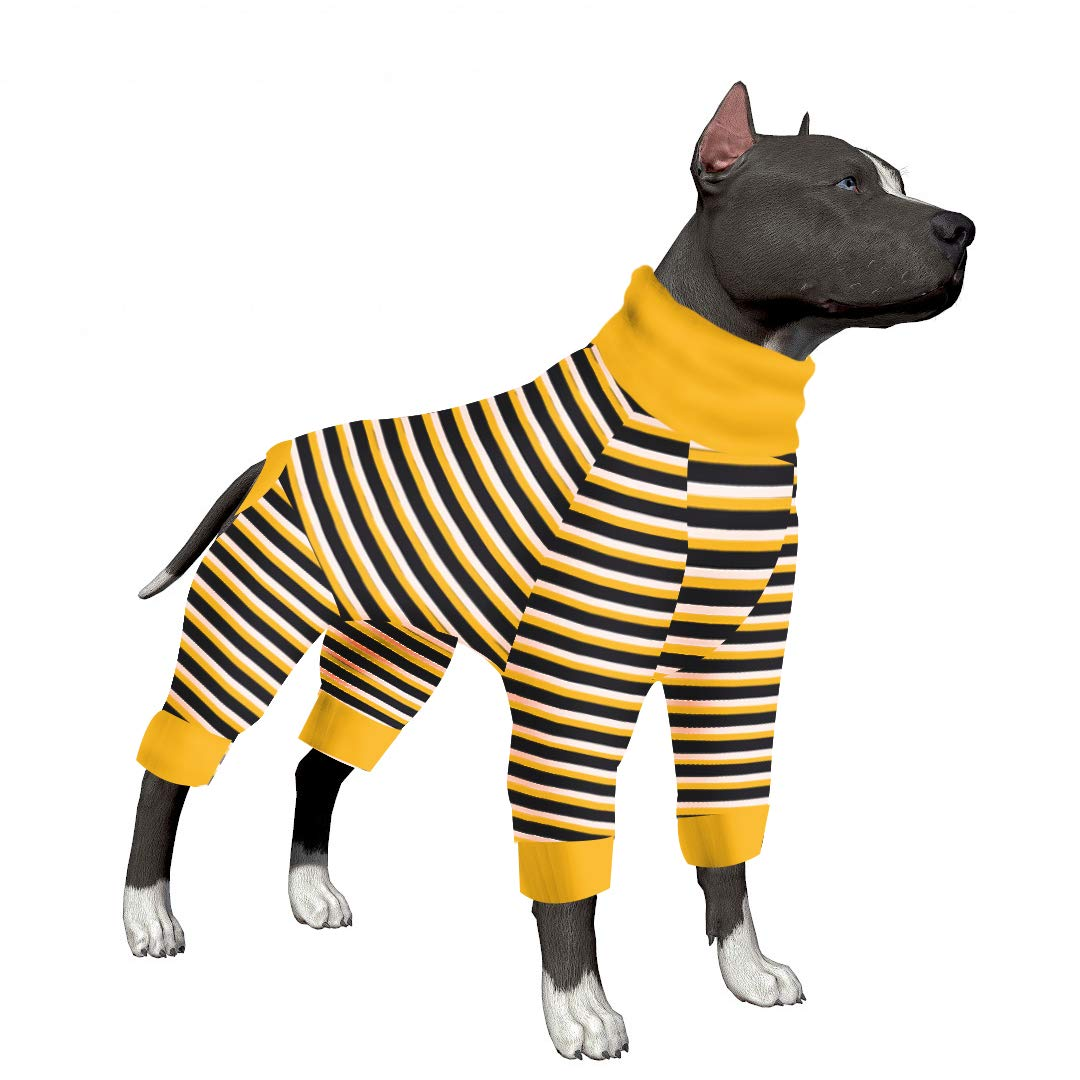 LovinPet Large Dog Pajamas/Black and Yellow Stripes Dog Shirt/4-Legs Design/Full Body Coverage Protection/for Big Dogs/Pitbull Shirt/Bulldog Pajamas/Boxer Pajamas by LovinPet