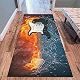 InterestPrint Music Note Area Rug Floor Mat 10'x 3'3'', Electric Guitar In Fire and Water Musical Throw Indoor Carpet Rugs Collection for Living Room Bedroom Home Decor