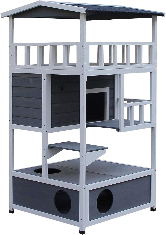 Pawhut Caseta para Gatos de Madera de Abeto con Gran Espacio de 4 Pisos y Cuarto Desmontable para Arena 78x76x140cm